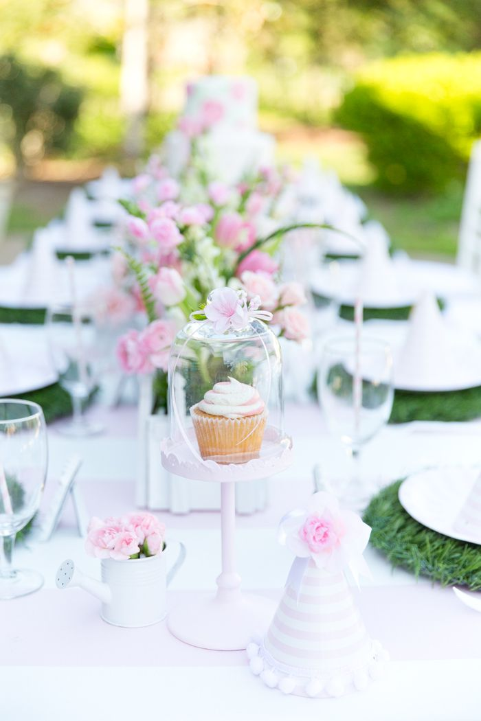 Pink and White Garden 1st Birthday Party
