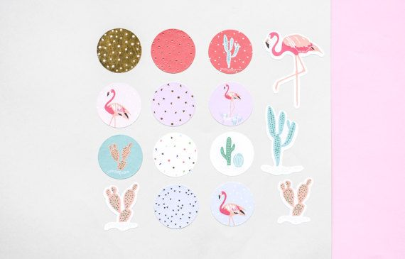 114 flamingo stickers  Colorful paper stickers for scrapbooking, adorning and personalizing notebooks, gifts, name tags, envelopes, cards... you name it. Cacti, confetti and flamingos in pinks, salmon and mint with hints of gold foil. A package contains 6 sheets with 114 stickers.  Measurements Diameter round: 24 mm / 0.95  ---------------------------------------  SHIPPING:  • Shipping time to the US / CAN: 3-7 business days  • On request, orders are shipped ensured via registered m...
