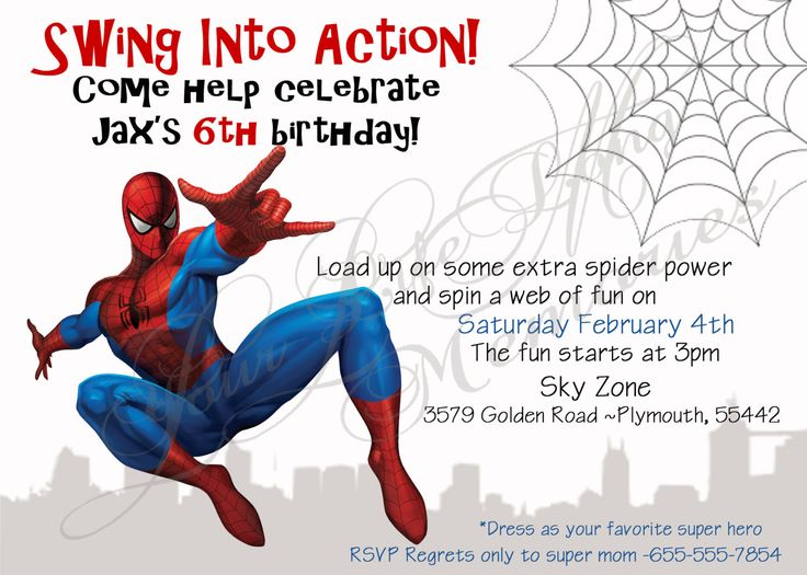 Download Now Free Template Free Printable Spiderman Birthday Invitations Spiderman Birthday Invitations Spiderman Invitation Printable Birthday Invitations