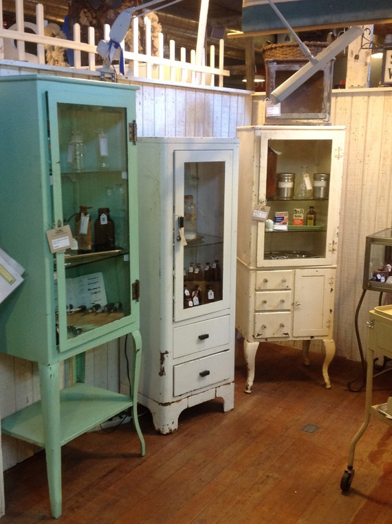 Vintage Medical Cabinets are a great idea for storage and very unique.