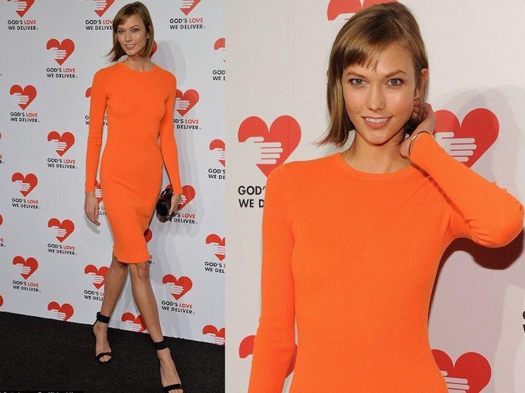 ClioMakeUp-trucco-vestito-abito-arancione-arancio-aranciato-abbinare-ombretto-rossetto-karlie-kloss