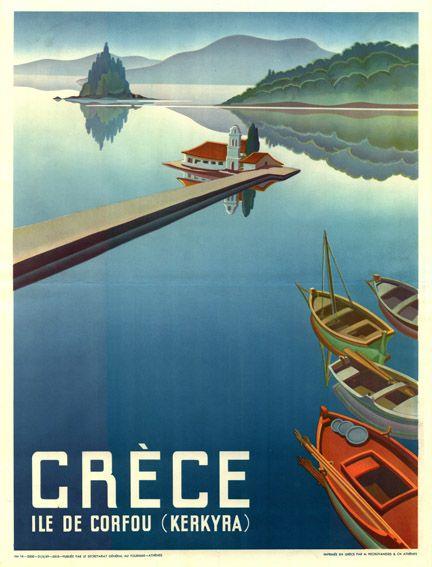 Vintage travel poster of #Corfu island #Greece 1940's