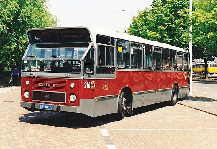 GVU stadsbus. De rode bussen hebben gereden van 1967 tot 1989.