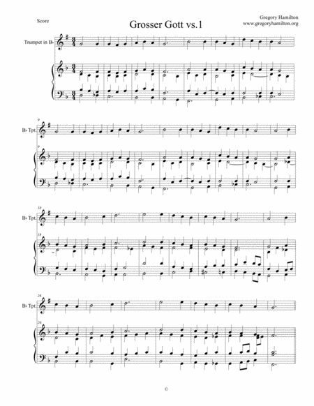 Holy God We Praise your Name - Grosser Gott - Alternate Harmonization for Organ - version 1. with optional trumpet part in Bb