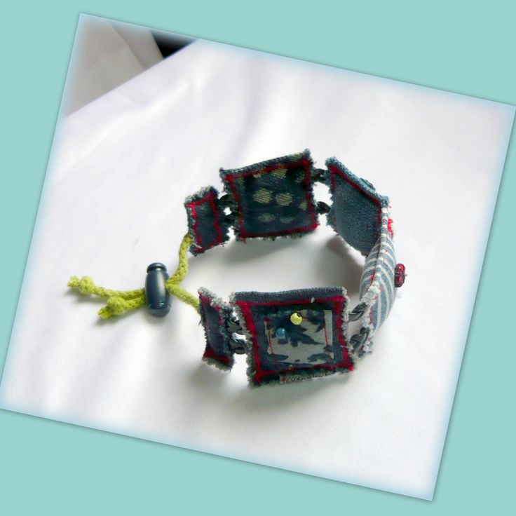 Handmade by Judy Majoros - Denim- Fabric- square bracelet, Recycled braceletnégy