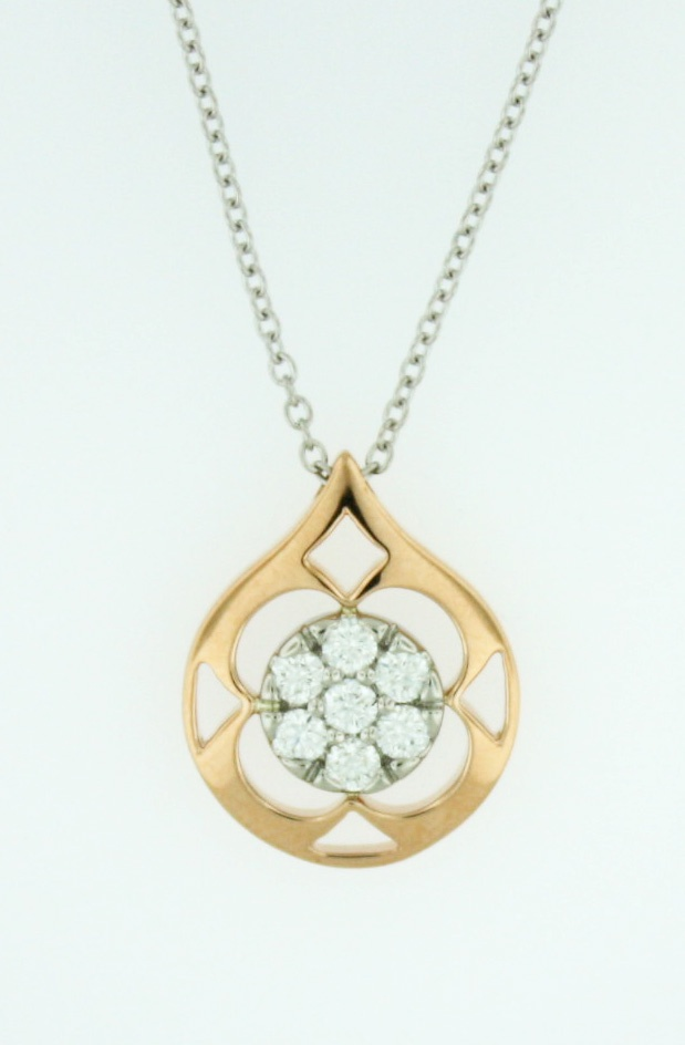 0.31ctw Hearts on Fire Diamond Copley Pave Pendant in 18K Rose Gold on an 18K White Gold Chain