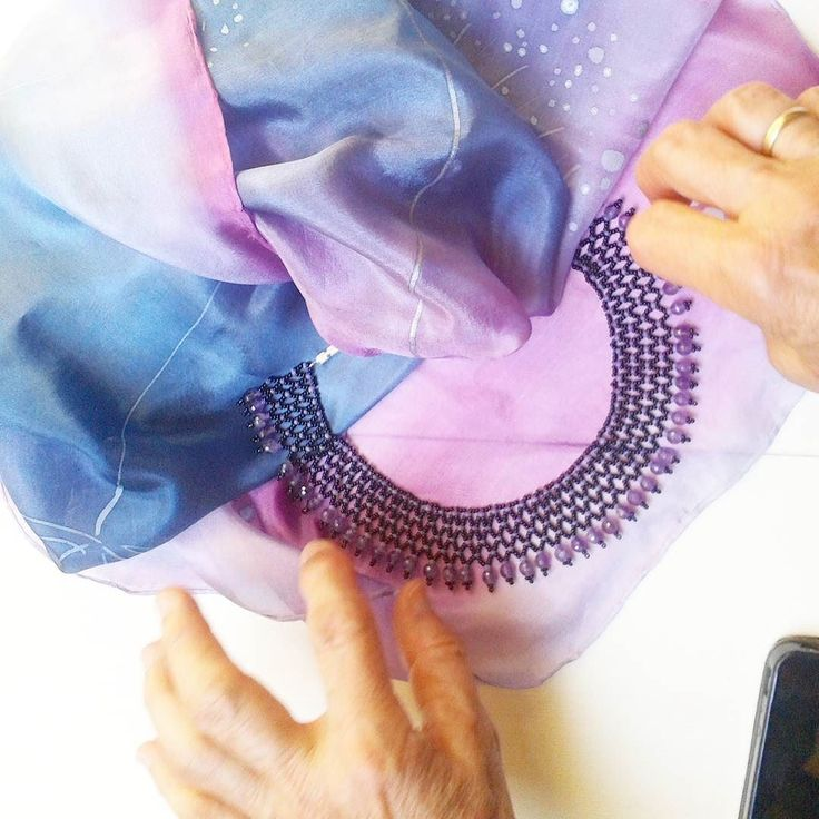 Today in #Paloma silk&more with @fannabead . Come and see her beautiful #beadwork . #silkscarf #designetstore #designerfashion #womensaccessories #necklace #purple