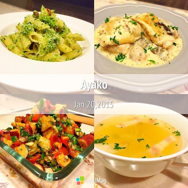 今日は、私の大好きなものばかり♡ - 109件のもぐもぐ - ブロッコリーソースのペンネ、オニオン風味のチキンフリカッセ、タコとトマトのサラダ、玉ねぎとベーコンのスープ by ayako1015