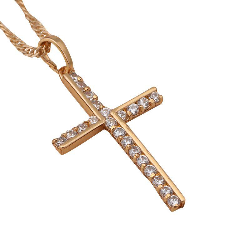 Populaire en ligne Crosse conception pour femmes 18 k plaqué or blanc cristal colliers et pendentifs bijoux de mode merveilleuse LN196A(China (Mainland))