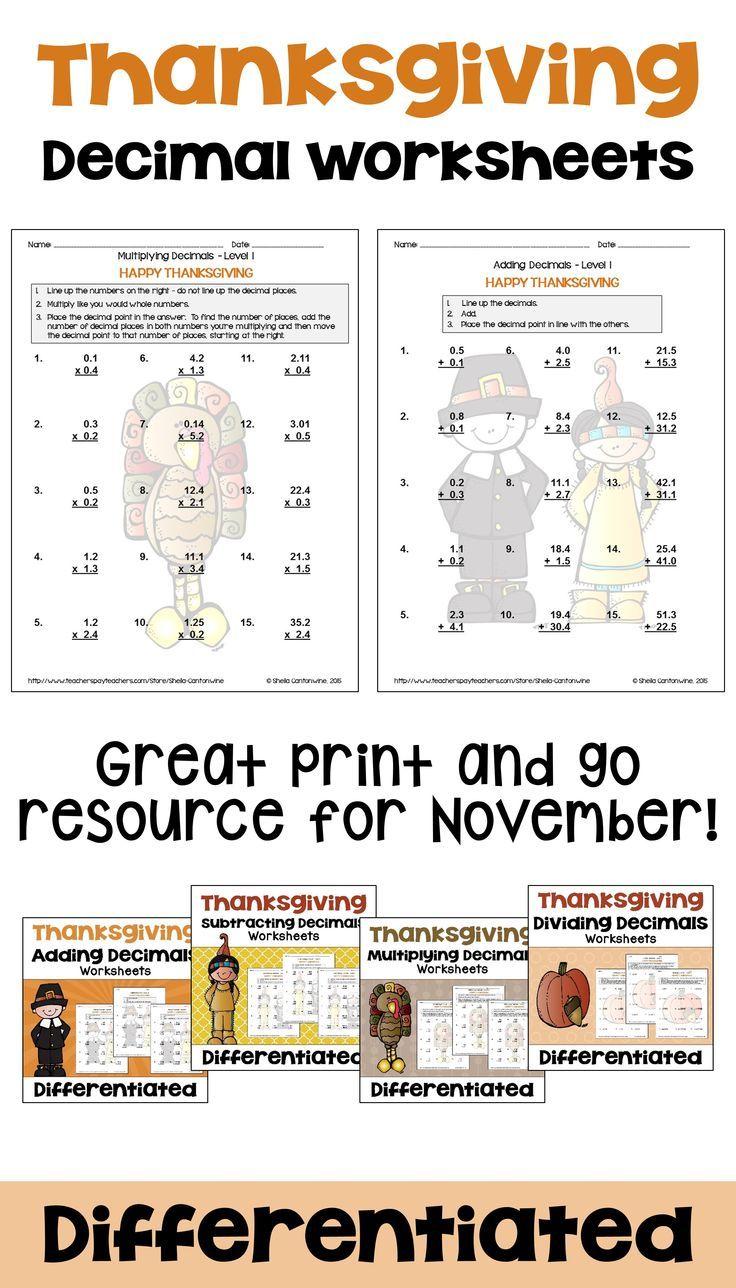 medium resolution of Thanksgiving Math Decimal Worksheet Bundle with Printable and Digital  Options   Decimals worksheets