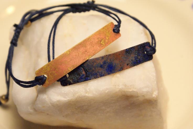 Ammonia Bracelets.  BluepPatina by ammonia fumes and salt.