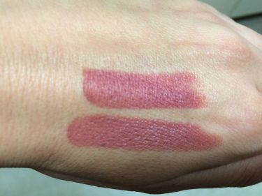 Twig by MAC on top; B52 by NYX on the bottom. You can see B52 has a slightly glossier finish.