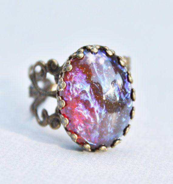 Vintage Dragons Breath Opal RingMexican by hangingbyathread1