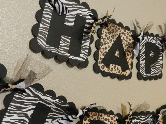 Animal Print Birthday Banner Zebra and Leopard Cheetah on Etsy, $26.00