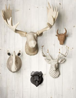 Faux taxidermy gallery wall