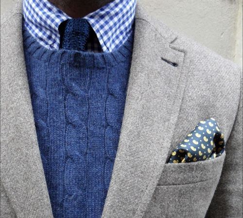 A subtle pocket square, wool blazer, a woven tie, gingham shirt and cable knit crew neck - the British gentleman pulls this off with style and grace.Fashion Men, Sweaters, Men Style, Ties, Men Fashion, Suits, French Blue, Pocket Squares, Cable Knits
