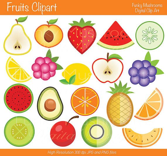 Digital Clipart  Fruits Clipart for Scrapbooking by funkymushrooms, €2.80