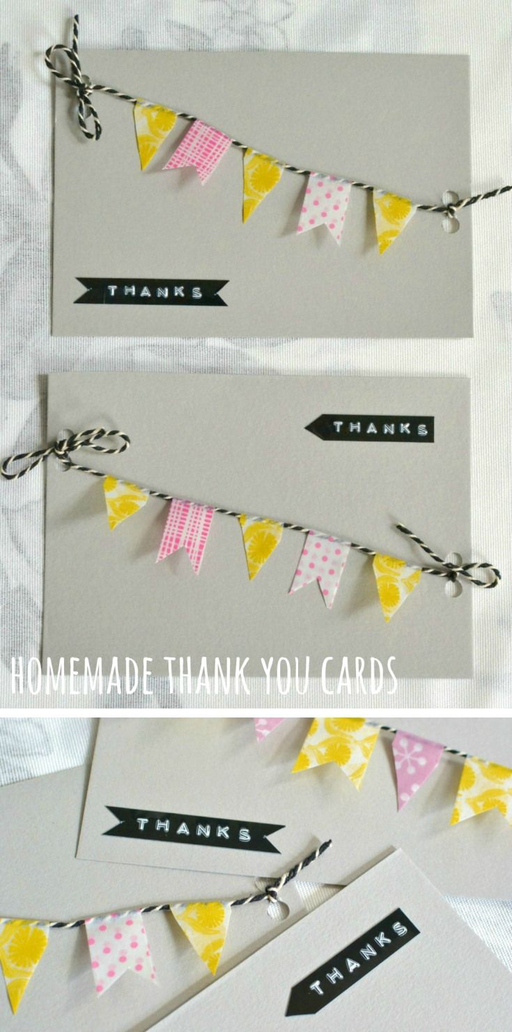 homemade thank you card ideas great washi tape flag idea!