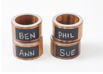 Bamboo Napkin Rings with Chalkboard Labels, Set of 4 - contemporary - Napkin Rings - Great Useful Stuff