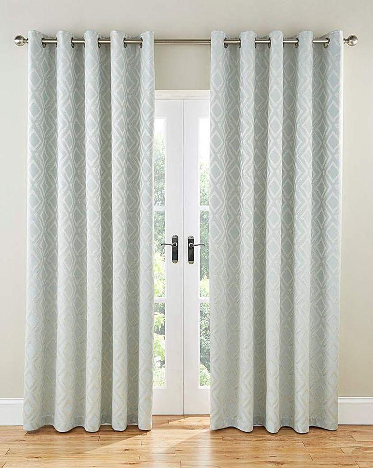 Inez Diamond Lined Eyelet Curtains