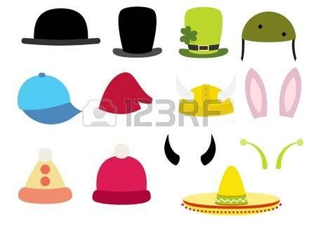 цилиндры котелки шляпы: красочные различные смешные шляпы установить