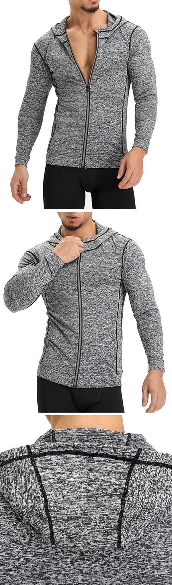 Long Sleeve Fitness&Jogging Casual Hooded Tops #men #fitness #gym