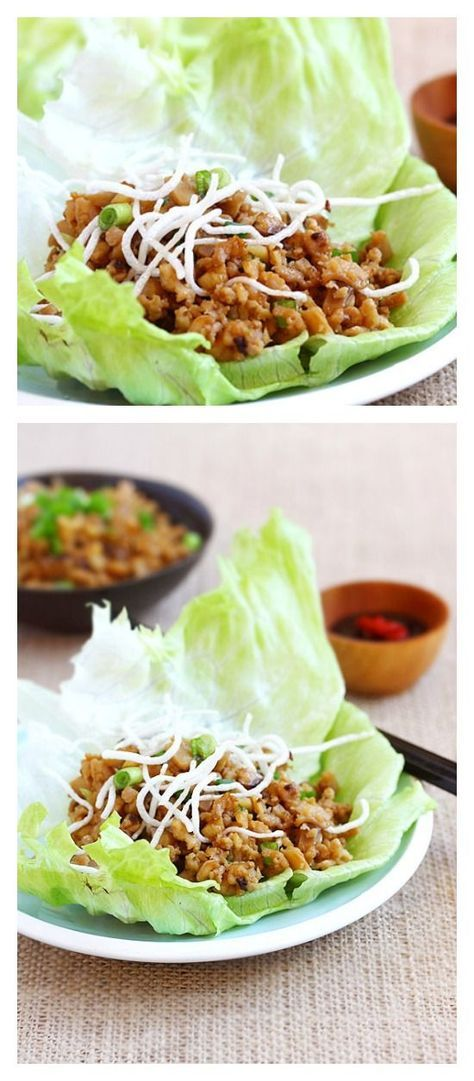 Lettuce wraps with chicken and mushroom. Easy lettuce wraps recipe that is better than PF Chang's lettuce wraps and takes 15 minutes. A must try Chinese recipe | rasamalaysia.com
