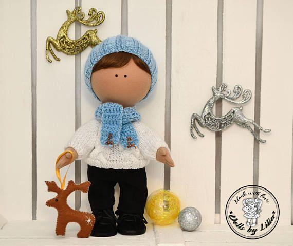 Winter doll boy Christmas art tilda doll Boy doll with a deer