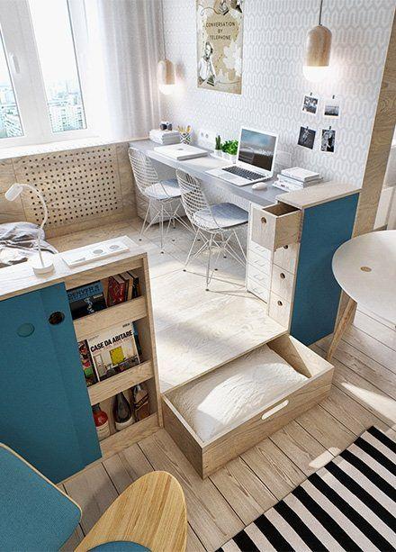 Stylowe małe mieszkanie - kącik do pracy.