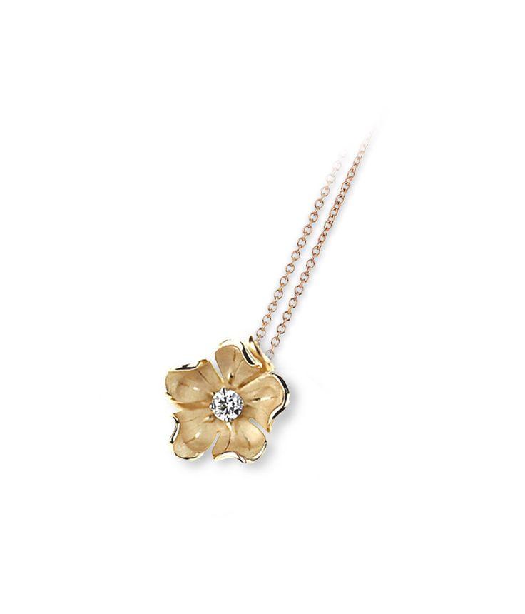 Dorothy Collection  Flower Gold pendant with diamonds inspired nature // colgante flor de oro con diamantes inspirado en la naturaleza www.art-jeweller.com