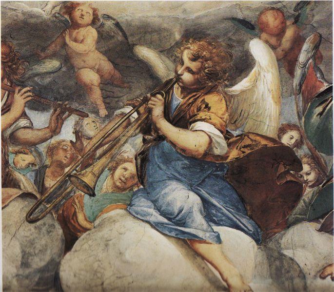 Isodoro Bianchi: 1645, detail of Gloria d'angeli, a fresco in the sanctuary of S. Maria dei Ghirli, In Campione d'Italia in Italy.