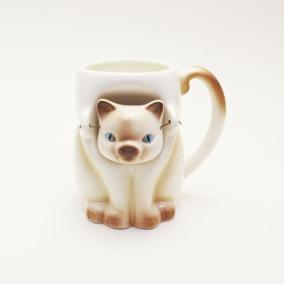 Vintage Siamese Cat Mug Bobble Head on Etsy, $15.00