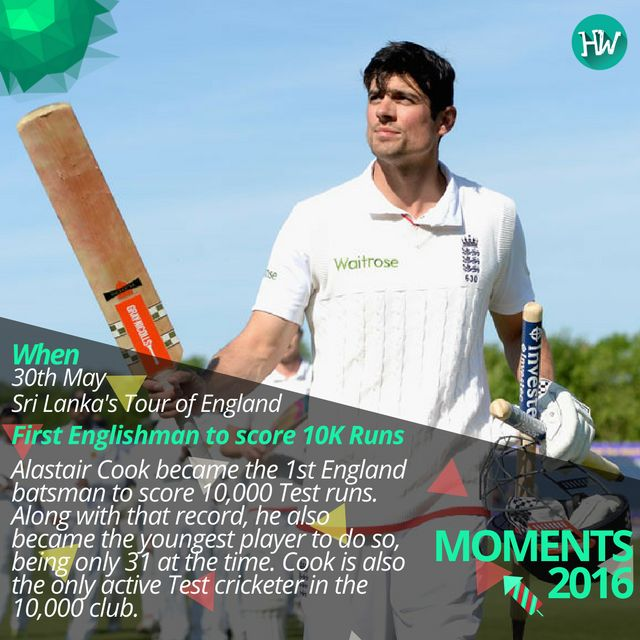 #Moments2016, Alastair Cook became the 1st Englishman to score 10,000 Test runs. #INDvENG #ENG #cricket