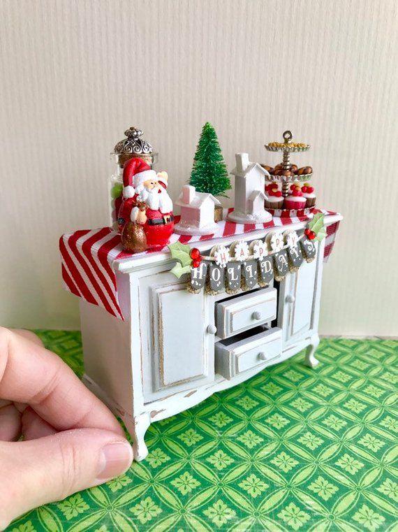 "Tiny Dollhouse Miniature CHRISTMAS TREE  /<2/"" tall  small scale 1:48 1//4/"" scale"