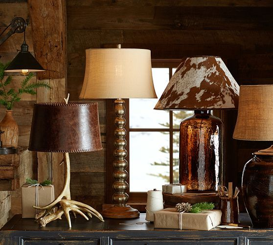 Pottery Barn Replacement Lamp Shades: PB Basic Cowhide Lamp Shade And Clift Glass Base