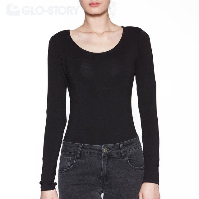 GLO-STORY Brand Women Skinny Bodysuits Jumpsuits 2016 Chic Sexy Solid Long Sleeve o-neck Bodysuit Women Rompers WCX-3025