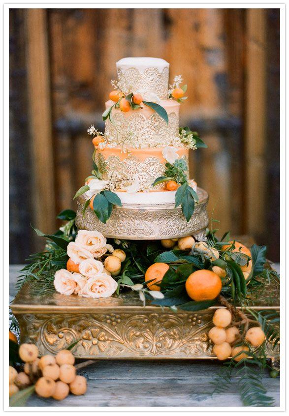 gold and orange wedding cake inspiration