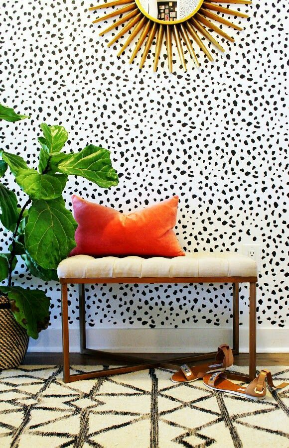 Spots, gold, blush & greenery