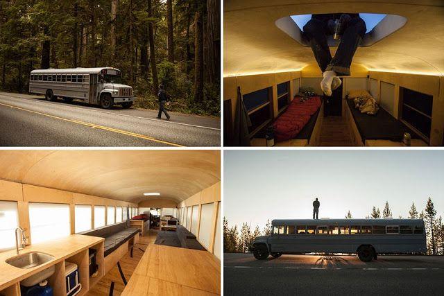 Estudiante de arquitectura Hank Butitta transformó autobús escolar en una casa móvil