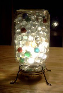 light in glass jar with glass gems could do with spheres too