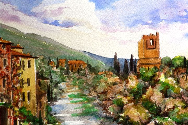 Lagrasse (9) - Phong Trinh Watercolor. More Fine Art Print Available at http://www.artpal.com/phongtrinh/