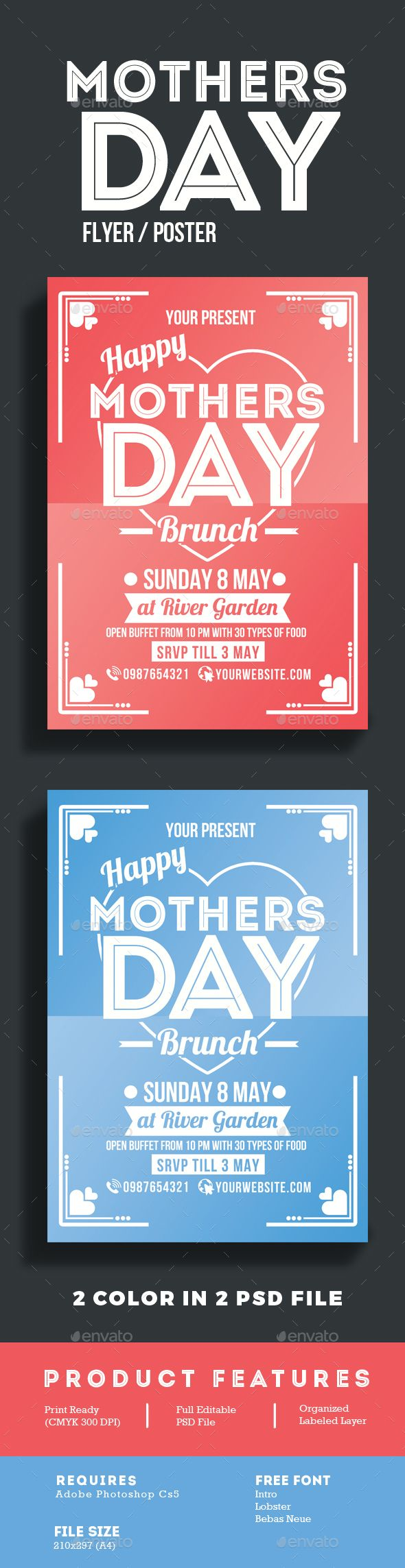 Mothers Day Brunch Flyer Poster Template PSD. Download here: http://graphicriver.net/item/mothers-day-brunch-flyer-poster/15855225?ref=ksioks