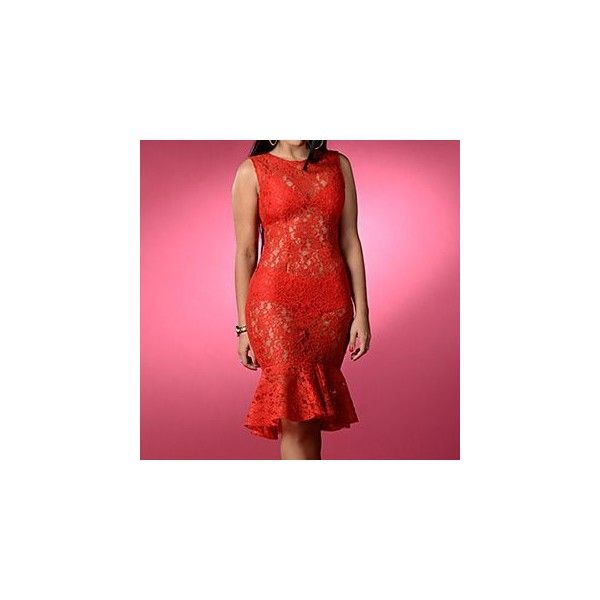 Sleeveless Mermaid Lace Party Dress (£24) ❤ liked on Polyvore featuring dresses, women, lace dress, red cocktail dress, red lace dress, no sleeve dress and sleeveless dress