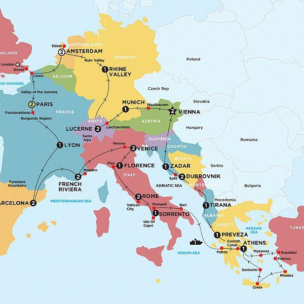 European Explorer Plus Greek Island Cruising Map