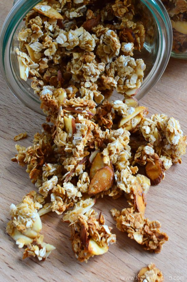 4 Ingredient Vanilla Almond AGAVE Granola from KatiesCucina.com #Agave #Recipe