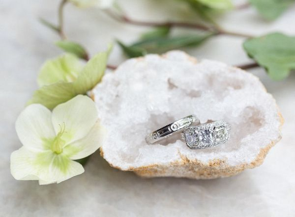 Wedding Rings with Crystal Geode
