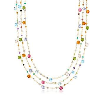 Multi-Stone and Cultured Pearl Three-Strand Necklace in 14kt Gold Over Sterling