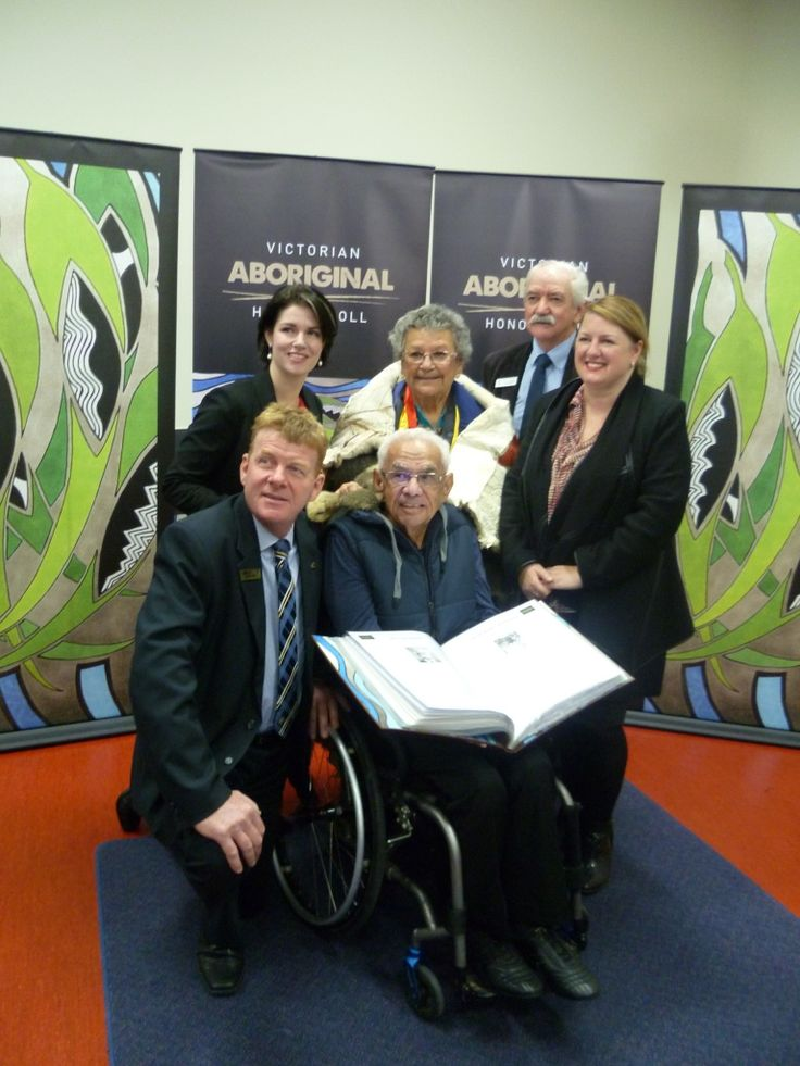 2015 Victorian Aboriginal Honour Roll launch in the Horsham Library. Back: Emma Kealy (Member for Lowan), Aunty Nancy Harrison (Barengi Gadjin Land Council), Cr Leo Tellefson (Chair of W.R.L.C. Board). Front: Cr Mark Radford (Horsham City Mayor), Uncle Kevin Coombs OAM (holding the Honour Roll book), Natalie Hutchins (Minister for Aboriginal Affairs, Local Government & Industrial Relations), Lester Marks Harradine, Johnny Mullagh & Kevin Coombs are the3 Wimmera people inducted to the Honour…