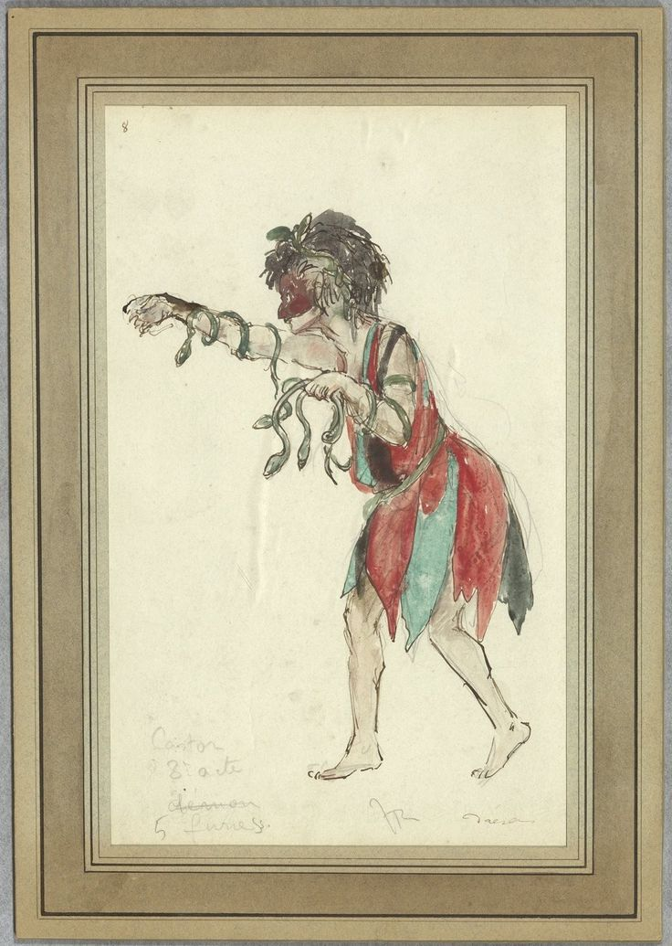 """Costume design (1918), by Jacques Drésa (1869-1929), for the furies, in Act 3 of """"Castor et Pollux"""" (1737), by Jean-Philippe Rameau (1683-1764)."""