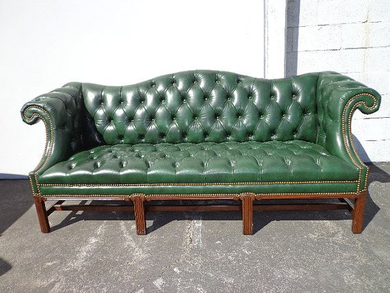 Tufted Leather Camelback Sofa Couch Chesterfield By DejaVuDecors, $1999.00 Part 48